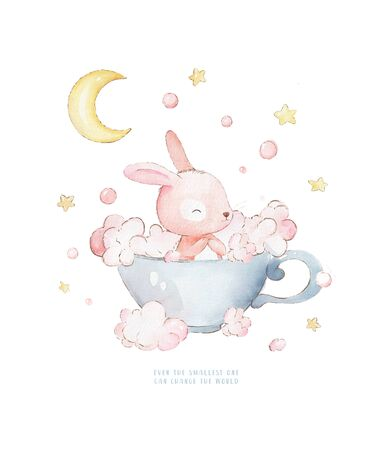 Little Bunny Takes Baths in a Cup. Moon and stars in the background. Can be used for baby t-shirt print, fashion print design, kids wear, baby shower celebration, greeting and invitation card.