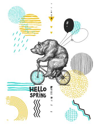 Bear with Balloons Rides Bicycle. Wearing Facial Mask. Hello. Spring Sarcasm Poster. T-shirt Print. Vintage Mascot Cute Fun Grizzly Cycle Bike Isolated on White. Blackwork Tattoo Animal Character Black Sketch. Outline Grunge Teddy Flat Vector Illustration