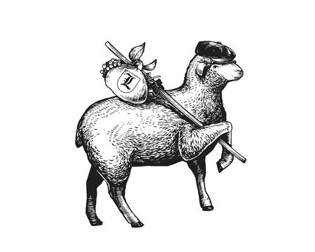 Stylized Illustration of the vagabond sheep wearing a cap on his headher head. Wandering Sheep with a bundle on a stick. Engraved vintage style illustration of the sheep . Can be used for Poster, Package, Logo Isolated on white background