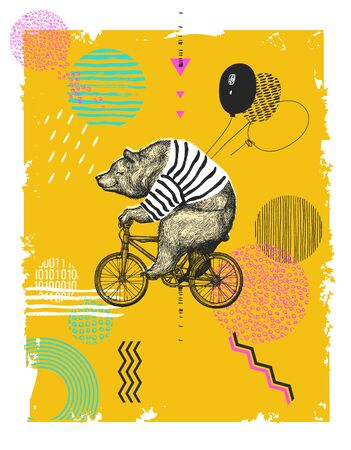 Bear with Balloons Rides Bicycle T-shirt Print. Vintage Mascot Cute Fun Grizzly Cycle Bike. Abstract Background. Blackwork Postar Animal Character Black Sketch. Outline Grunge Teddy Vector Illustration