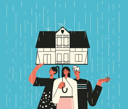 Illustration of a group of three under the umbrella in the form of hose. Family at home on a rainy day. Help, support, and mental health concept. Concept of self isolation, quarantined isolation Ilustracja