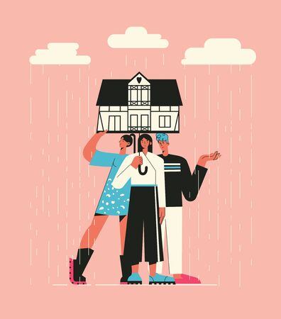 Illustration of a friends under the umbrella in the form of hose on a rainy day. Family at home, help and support concept. Flat style illustration. Concept of self isolation, social dist