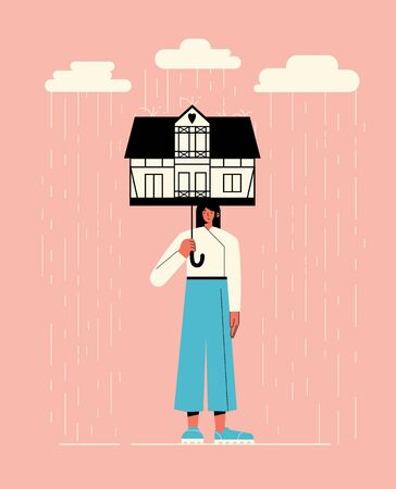 Vector Illustration of a girl under the umbrella on a rainy day. Flat style illustration. Concept of self isolation, social distancing, quarantined isolation. Ilustracja