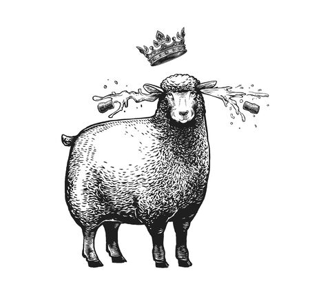 Cartoon Stylized Sheep with the crown over her head. Vector illustration of the Queen Sheep in graphic style on the white background.