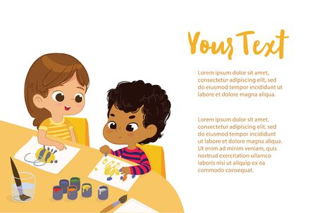 Poster with the olays for the text for art class. Boy and Girl Draw Pictures with paints and pencils. Children drawing in the art class