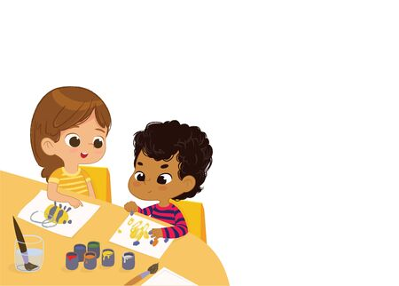 Boy and Girl Draw Pictures with paints. Isolated on a White Background