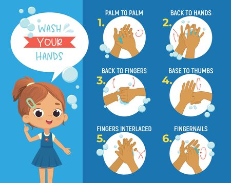 How to wash your hands Step Poster Infographic illustration. Poster with the cute girl shows how to wash hands properly. Hygiene Poster for kids Ilustracja