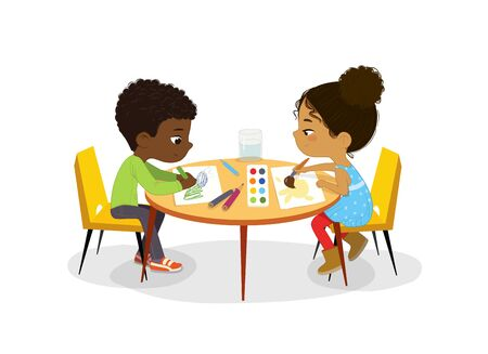 African American Boy and Girl sit at the round table and draw picture with watercolor and pencils. Drawing activity in the art class. Boy and Girl Draw Pictures with paints and pencils. Poster with the Place for the text