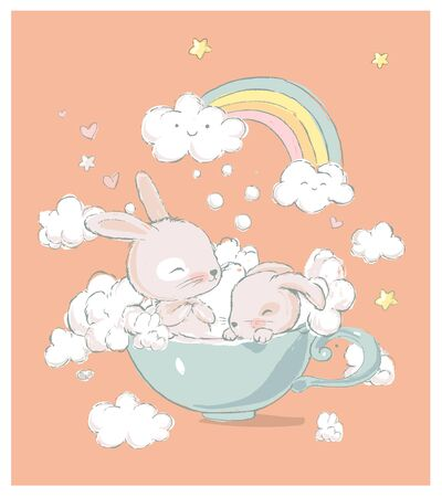 Cute little bunnies take baths in a cup. Funny rainbow, foam and clouds on the background. Cartoon hand drawn vector illustration. Can be used for baby t-shirt print, fashion print design, kids wear, baby shower celebration, greeting and invitation card
