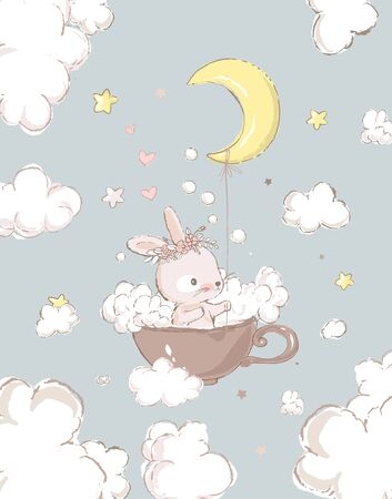 Cute little sister bunny with the wreath on the head take baths in a cup. Moon, foam and clouds on the background. Cartoon hand drawn illustration. Can be used for baby t-shirt print, fashion print design, kids wear, baby shower celebration, greeting and invitation card.