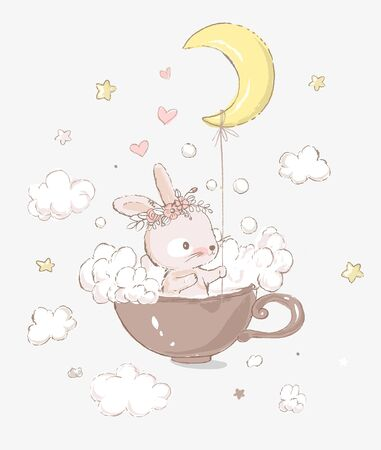 Cute little bunny girl with the wreath on the head take baths in a cup. Moon, foam and clouds on the background. Cartoon hand drawn illustration. Can be used for baby t-shirt print, fashion print design, kids wear, baby shower celebration, greeting and invitation card.