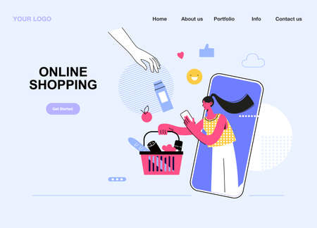 Online shopping concept,. Young woman shoping online using smartphone. Vector illustration template. Can use for web banner, ads, infographics