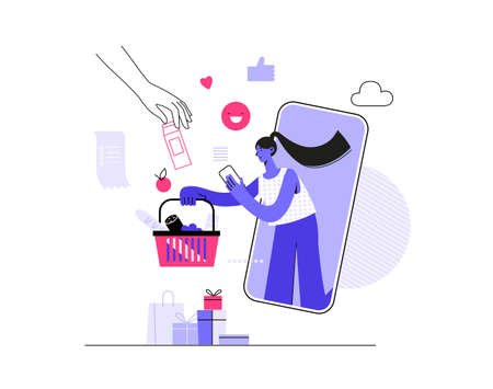 illustration of young woman shop online using smartphone. E-commerce and online shopping. using mobile smartphone for online shopping and payment