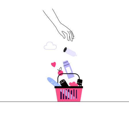 Illustration of a food basket icon. Stylized hand hand fills the grocery cart with the the products, fruits and vegetables