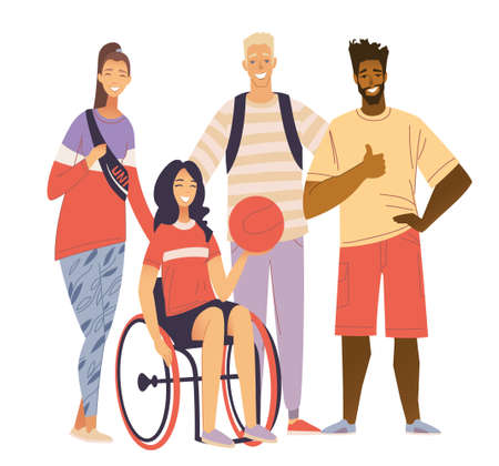 Sport Team Portrait. Happy disabled girl sitting in wheelchair and holding basketball ball. A young woman with a disability plays basketball in a wheelchair. Inclusiveness, activity of the disabled. Stock vector flat illustration of a wheelchair with a basketball Vector illustration. Ilustracja
