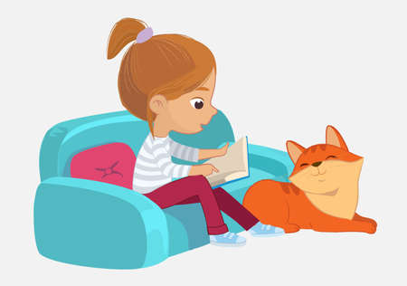 A girl and seating on the sofa reading the book to her Pet friend Ginger cat. Book corner in the kindergarten