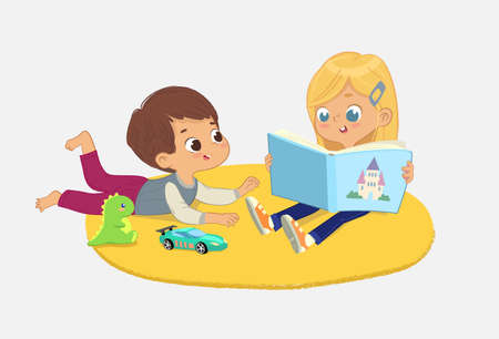 a girl and a boy reading the book in a book corner in the kindergarten