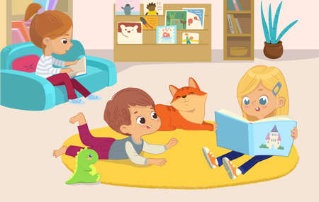 illustration of a girl reading the book to her friends the boy and the pet cat. Book corner in the kindergarten