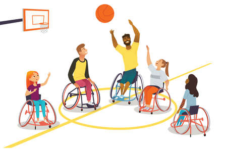 Group of multiracial man and woman on wheelchairs play basketball and have fun. Physical activity, rehabilitation for people with physical disabilities or musculoskeletal system diseases. Adaptive wheelchair sport.