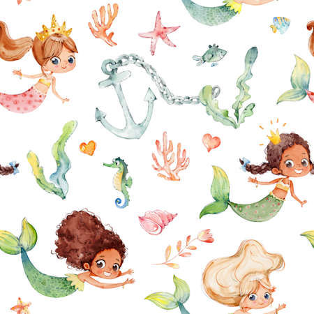 Seamless watercolor pattern with cute multiracial girls mermaids, sea elements, sea stars, fishes, flowers etc Girls Mermeids Pattern on a white Standard-Bild