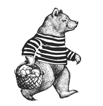 Illustration with the walking bear side view. Bear wearing t-shirt with the basket full of mushrooms Ilustracja