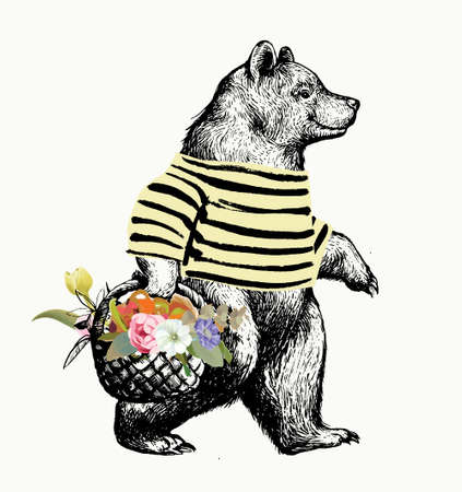 Black and White Illustration in graphic style with the walking bear. Side view bear wearing t-shirt with the basket full of fruits and Flowers and Floral Background. Vector Grunge Print.