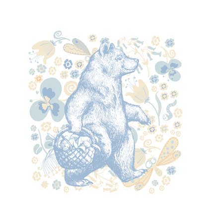 Illustration in graphic style with the cartoon walking bear on a floral ornamental background. Side view bear wearing t-shirt with the basket full of fruits and Flowers and Floral Background. Vector Grunge Print. Ilustracja
