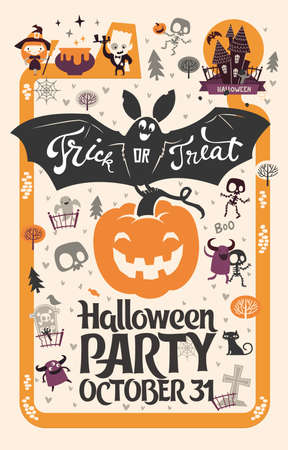Holiday Happy Halloween flyer template with funny cartoon smiling bat with spread wings and Trick or Treat lettering carrying carved Halloween pumpkin against orange background Ilustracja