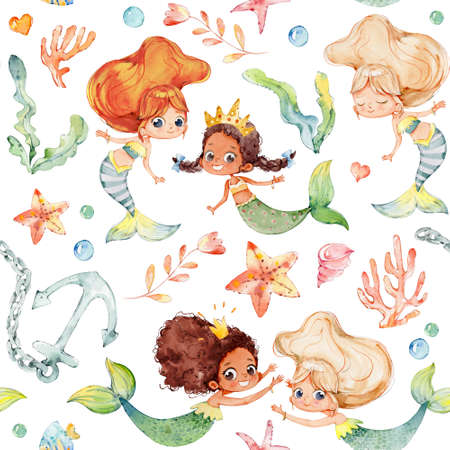 Seamless pattern with multiracial cartoon girls mermaids, sea elements, sea stars, fishes, flowers etc Mermeids Pattern on a white