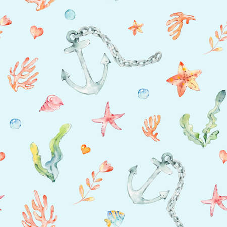 Cartoon cute hand drawn sea life seamless pattern. Hand-drawn underwater sea elements: sea stars, anchor, Coral, shells and flowers seamless pattern on white background