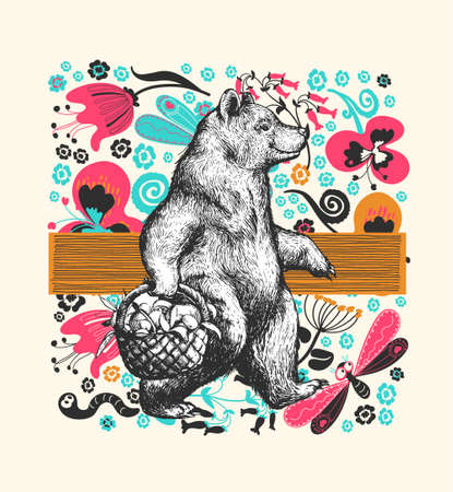 Illustration in graphic style with the cartoon walking bear on a floral ornamental background. Side view bear wearing t-shirt with the basket full of fruits and Flowers and Floral Background. Vector Grunge Print
