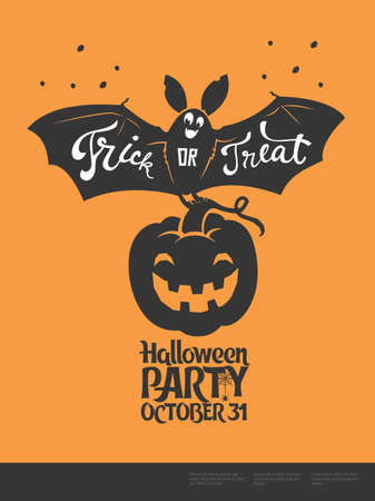 Funny cartoon smiling bat with spread wings and Trick or Treat lettering carrying carved Halloween pumpkin against orange background. Vector illustration for party invitation, festive banner, poster