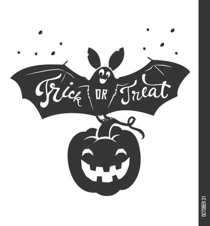Creepy bat with Trick or Treat phrase hand written on it, carved spooky pumpkin and candies on orange background. Vector illustration for Halloween party invitation, greeting card, holiday poster