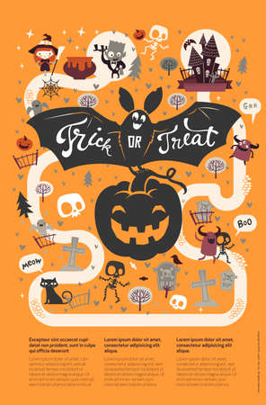 Happy Halloween flyer template in a flat style with festive map, funny and spooky cartoon characters and place for text. Vector illustration for party invitation, greeting card, announcement banner