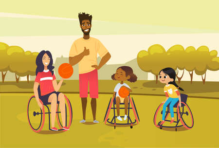 Handicapped adult and girl in wheelchairs playing baseball and have fun. African american man referee coaching young sportsmen s. Medical rehabilitation concept. Vector Illustration Ilustracja