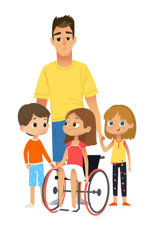 Children and Tutors. Caring and Support for the disabled child. Big family together vector illustration