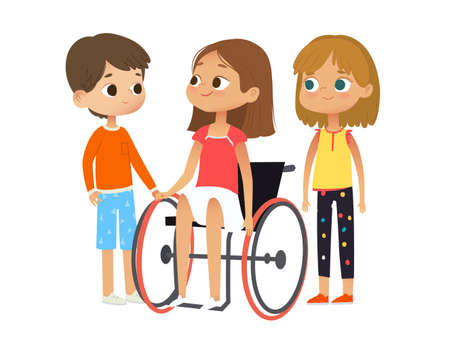 Caring and Support for the disabled child. Disabled girl sitting in a wheelchair. Disabled girl and her friends. vector illustration Ilustracja