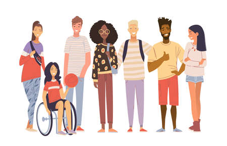 Group of multicultural students flat vector illustration. Laughing young girls and boys isolated characters on white background. Disabled girl sitting in a wheelchair. Happy teenager in casual clothes. Inclusiveness concept. Ilustracja