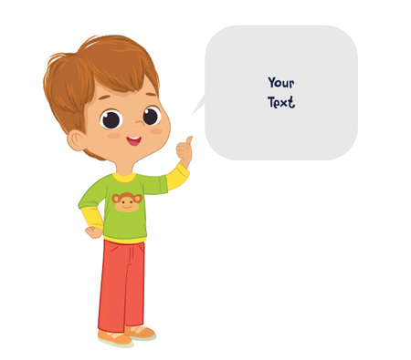 Vector illustration of the cute brown hair Boy pointing at a bubble with place for text. Preschool boy. School boy and speech bubble with place for text isolated on white background.. Ilustracja