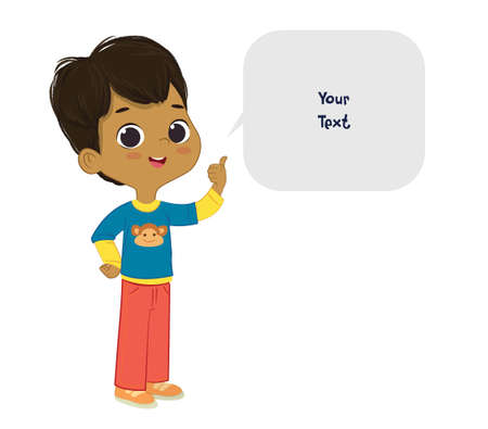 Vector illustration of the cute brown hair Latino boy pointing at a bubble with place for text. Preschool boy. School boy and speech bubble with place for text isolated on white background..