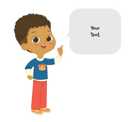 Vector illustration of the cute African American Boy pointing at a bubble with place for text. Preschool boy. School boy and speech bubble with place for text isolated on white background..