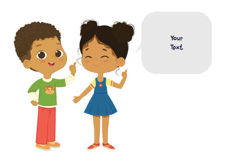 Vector illustration of the cute African American boy and girl pointing at a bubble with place for text. Preschool children boy and girl. School kids and speech bubble with place for text isolated on white background..