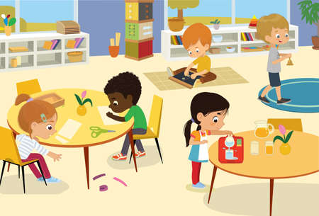 Preschool Class. Illustrations of children in the playroom, boys and girls involved in activities, sew, make a collage, pour water, walking with the bell, and have fun. Kids game