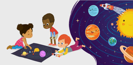 Children sitting on floor explore toy universe, Planets, Stars, Sun, Moon, and Galaxies. Playing and educational activity in kindergarten. Preschool environmental education concept. Cartoon vector illustration. Kids space learning