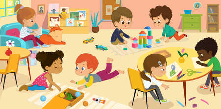 Preschool Class. Vector illustrations of children in the playroom, boys and girls involved in various activities, draw, make a collage, read books, play with the wood blocks, and have fun. Kid's drawings for poster, background or card