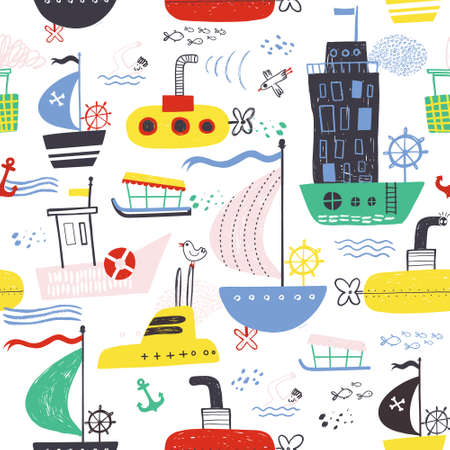 Funny cute hand drawn kids toy water transport for nursery decoration. Baby bright cartoon boat, yacht, hovercraft, water-bus, steamship, cruise, submarine vector seamless pattern on white background.