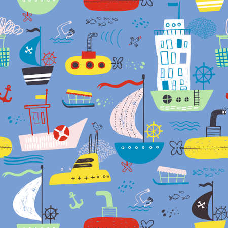 Kiddish cute seamless with baby bright cartoon boat, yacht, hovercraft, water-bus, steamship, cruise, submarinepattern baby design for fabric, print, wrapper, textile. Illustration