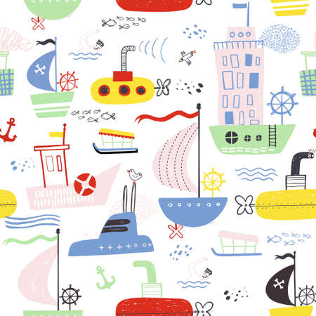 Seamless vector marine pattern. For cards, t-shirt prints, birthday, party invitations, scrapbook, summer holidays. Vector illustration in red, yellow and blue colors.
