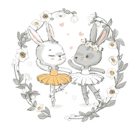 Illustration of two grey and white dancing ballerina bunnies. Little rabbits girls dancing. Wreath with beautiful flowers in the background. Can be used for t-shirt print, kids wear fashion design, baby shower invitation card. Illustration