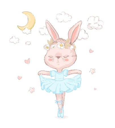 Sweet dancing ballerina bunny illustration. Little rabbit wearing blue dancing under the moon and stars. Can be used for t-shirt print, kids wear fashion design, baby shower invitation card. Illustration